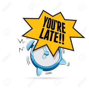 Vector illustration of alarm clock blaring with late exclamation.